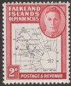 Falkland Islands Dependencies 1948 KGVI Thin Map 2d Dot in T Mint SG G11a