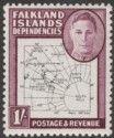 Falkland Islands Dependencies 1948 KGVI Thin Map 1sh Dot in T Mint SG G16a