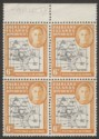 Falkland Islands Dependencies 1946 KGVI Thick Map 6d Ochre Mint Block SG G6e
