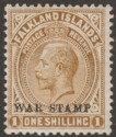 Falkland Islands 1919 KGV War Tax 1sh Pale Bistre-Brown Mint SG72a