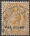 Falkland Islands 1919 KGV War Tax 1sh Pale Bistre-Brown Used SG72a