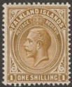 Falkland Islands 1912 KGV 1sh Light Bistre-Brown Mint SG65