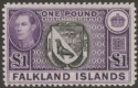 Falkland Islands 1944 KGVI £1 Grey-Black and Bluish Violet Mint SG163