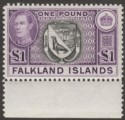 Falkland Islands 1938 KGVI £1 Black and Reddish Violet Mint SG163