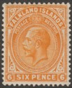 Falkland Islands 1925 KGV 6d Yellow-Orange Mint SG78