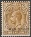 Falkland Islands 1918 KGV War Tax 1sh Light Bistre-Brown Mint SG72