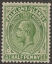 Falkland Islands 1921 KGV ½d Yellowish Green Mint SG73