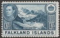 Falkland Islands 1948 KGVI 1sh Deep Dull Blue Mint SG158c