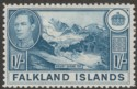 Falkland Islands 1937 KGVI 1sh Light Dull Blue Mint SG158