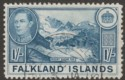 Falkland Islands 1937 KGVI 1sh Light Dull Blue Used SG158