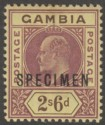 Gambia 1902 KEVII 2sh6d Purple and Brown on Yellow Specimen SG55s