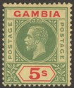 Gambia 1922 KGV 5sh Green and Red on Pale Yellow Mint SG102