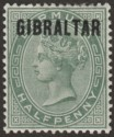 Gibraltar 1886 QV ½d Dull Green Overprint on Bermuda Mint SG1