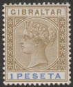 Gibraltar 1895 QV 1p Bistre and Ultramarine Mint SG31