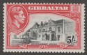 Gibraltar 1944 KGVI 5sh Black and Carmine Perf 13 Mint SG129b