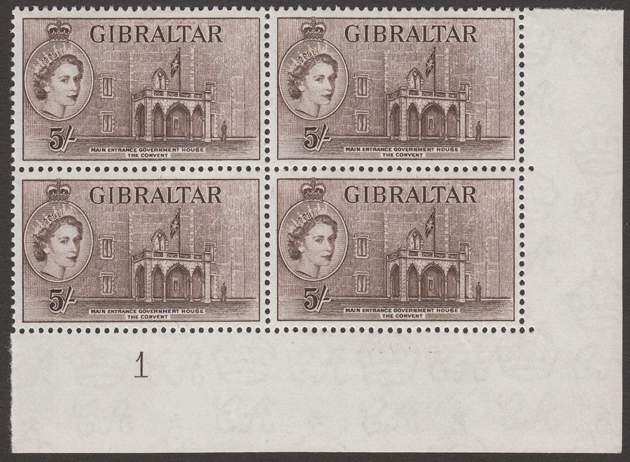 Gibraltar 1953 QEII Government House 5sh Deep Brown Block Mint SG156