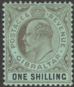 Gibraltar 1910 KEVII 1sh Black on Green Mint SG71 cat £23