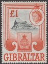 Gibraltar 1960 QEII £1 Black and Brown-Orange Mint SG173 cat £22