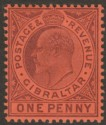 Gibraltar 1904 KEVII 1d Dull Purple on Red Ordinary Mint SG57
