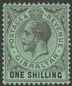 Gibraltar 1924 KGV 1sh Black on Emerald Mint SG98