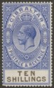 Gibraltar 1925 KGV 10sh Deep Ultramarine and Black Mint SG106 one missing perf