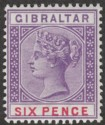 Gibraltar 1898 QV 6d Violet and Red Mint SG44