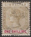 Gibraltar 1898 QV 1sh Bistre and Carmine Used SG45