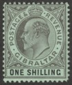 Gibraltar 1910 KEVII 1sh Black on Green Mint SG71