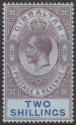 Gibraltar 1912 KGV 2sh Dull Purple and Blue on Blue Mint SG82