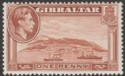 Gibraltar 1940 KGVI 1d Yellow-Brown Perf 13½ Mint SG122a