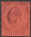 Gibraltar 1903 KEVII 1d Dull Purple on Red Mint SG47