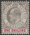 Gibraltar 1903 KEVII 1sh Black and Carmine Mint SG51