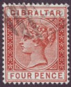 Gibraltar 1887 QV 4d Orange-Brown Used SG12