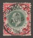 King Edward VII 1905 1sh Dull Green and Carmine on Chalky Paper Used SG257a
