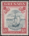 Grenada 1943 KGVI 10sh Slate-Blue and Bright Carmine p14 Mint SG163b