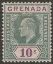 Grenada 1902 KEVII 10sh Green and Purple Mint SG66