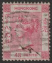 Hong Kong 1865 QV 48c Rose-Carmine watermark Inverted Used SG17w cat £200 tear