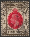 Hong Kong 1914 KGV $2 Carmine-Red and Grey-Black Used SG113 cat £75