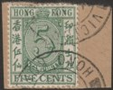 Hong Kong 1938 KGVI Stamp Duty 5c Green Used on piece SG F12 cat £17