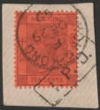 Hong Kong 1899 QV 10c Used on Piece with HK code F Postmark + Amoy IPO Mark
