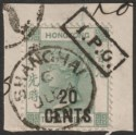 Hong Kong 1899 QV 20c on 30c Used with Hankow (1) IPO Mark + Shanghai Postmark