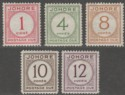 Malaya Johore 1938 KGVI Postage Due Mint Set