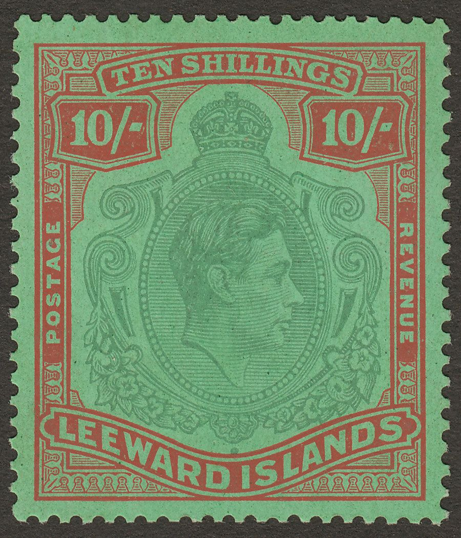 Leeward Islands 1944 KGVI 10sh Pale Green + Dull Red Ordinary Paper Mint SG113a