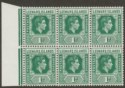 Leeward Islands 1949 KGVI 1d Blue-Green Block of 6 with DI Flaw Mint SG100a