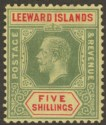 Leeward Islands 1920 KGV 5sh Pale Green and Red on Buff Mint SG57c