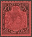 Leeward Islands 1938 KGVI £1 Purple and Black on Brick-Red p14 Mint SG114