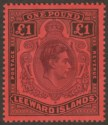 Leeward Islands 1938 KGVI £1 Brown-Purple and Black on Red p14 Mint SG114