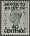 Morocco Agencies Spanish 1940 KGVI 40c on 4d Grey-Green Mint SG169
