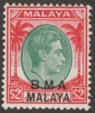 Malaya BMA Administration 1945 KGVI $2 Green and Carmine-Red Mint SG16