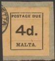 Malta 1925 KGV Postage Due 4d Black on Buff Imperf Used on Piece SG D7